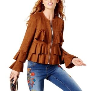 NWT INC Anna Sui Faux Suede Ruffle Jacket